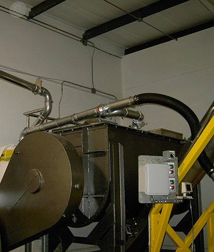 Nordfab Ducting installed for food processing dust at a manufacturing facility.